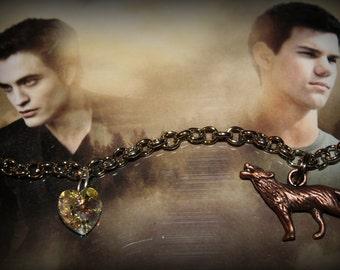 Twilight Saga Inspired Bella Edward Jacob Themed Charm Bracelet
