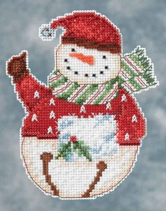 Mill Hill Snowbells Christmas Ornament by Debbie Mumm Counted Cross Stitch Kit w// Glass Beads Freezy DM204103