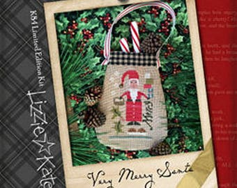 Lizzie Kate Very Merry Santa K84 - Limited Edition Christmas Counted Cross Stitch Pattern, Linen, Fabric and Embellishments