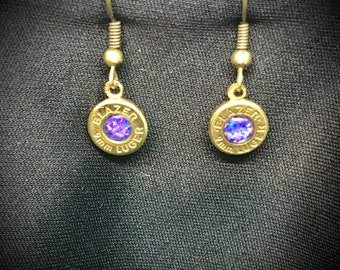 9mm Bullet Violet Opal Inlay Earring Surgical Steel Ear Wires