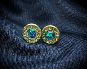 9mm Bullet  Black Opal Inlay Earring Studs, Posts, Surgical Steel