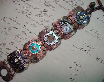 Copper Tooled Scrappy Bits & Pieces Bracelet