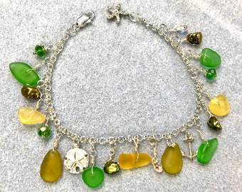 Gems of the Ocean Charm Bracelet, Seaglass, Keshi Pearls, Swarovski Crystals, Sterling Silver, Hues of Green