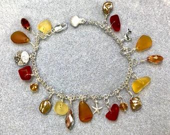 Gems of the Ocean Charm Bracelet, Seaglass, Keshi Pearls, Swarovski Crystals, Sterling Silver, Hues of Amber