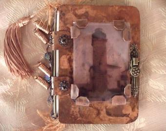 Lighthouse Copper Journal - Book, Art Journal, Assemblage Art, Keepsake, Gift, Lighthouse, Ocean