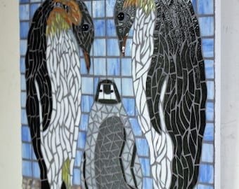 Mosaic, Stained Glass, Emperor Penguins, Baby Penguin, Shoreline, Nature, Penguin Family, Birds