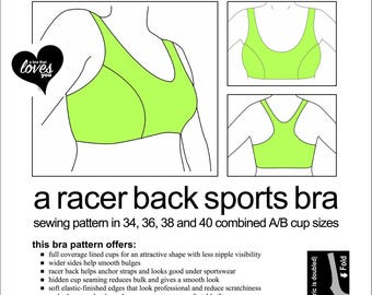 f192994c10 Sports Bra Sewing Pattern - All Sizes. One Price. Digital Download. PDF.
