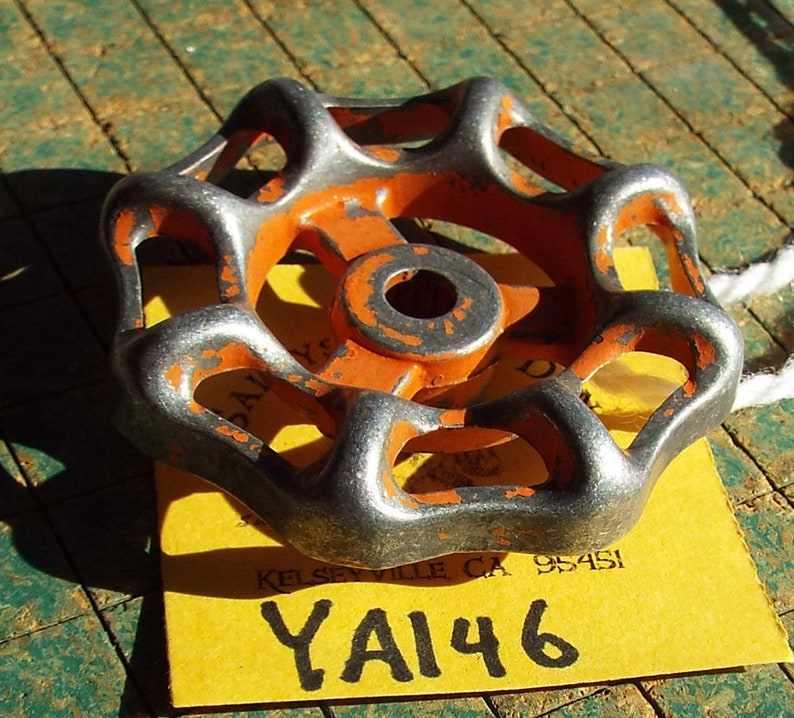 Indistrial Cast Iron Valve Handle Orange drawer pull knob