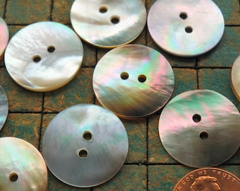 Seashell buttons, Mother of Pearl, 10 count, 3/4 inch, Natural shell buttons, 20mm, 2 hole, nacre buttons, sewing, crafting, scrapbook