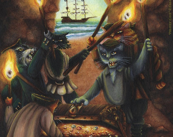 Treasure Island Pirate Cats 8x10 Fine Art Print