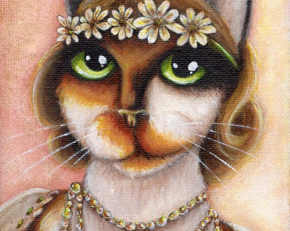 Daisy Buchanan Cat, Great Gatsby Calico Cat, 8x10 Fine Art Print