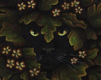 Greenman Cat Spirit of the Forest Fantasy Fine Art Print