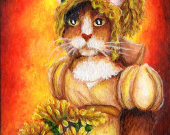 Calico Cat Art, Cat in Regency Dress, Chrysanthemums 8x10 Fine Art Print