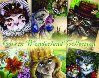 Wonderland Cats, Alice, Cheshire, Mad Hatter, Queen of Hearts, Caterpillar Cat Art Collection