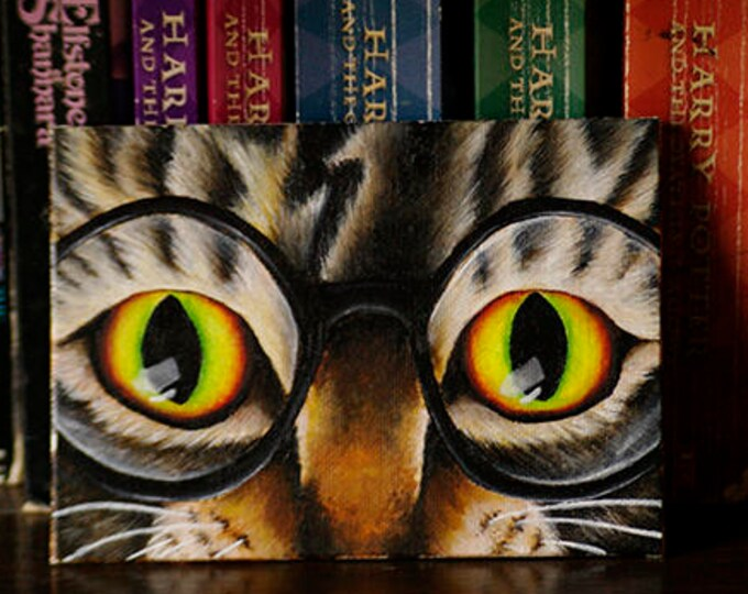 ORIGINAL PAINTING Cat Named Harry 5x7 Acrylics on Canvas Panel