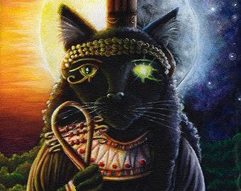 Egyptian Cat Goddess Bast 11x14 Fine Art Print