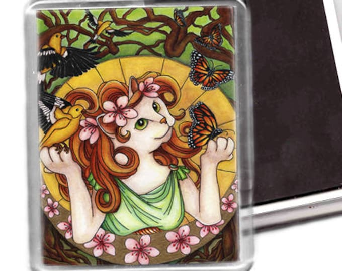 Flower Cat Magnet, Spring Art Nouveau Fantasy Cat Art Fridge Magnet