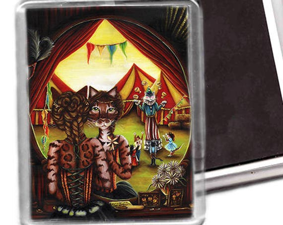 Circus Cat Fridge Magnet, Big Top Tents, Bengal Cat Art Magnet