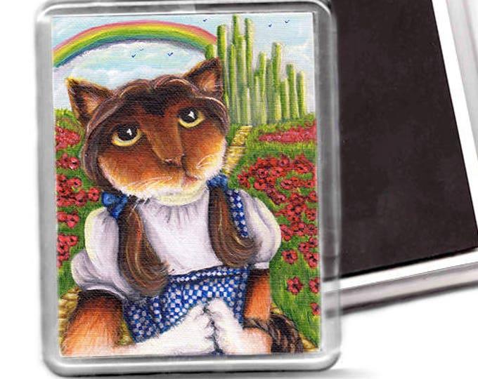 Wizard of Oz Cat Magnet, Dorothy, Emerald City, Yellow Brick Road, Calico Cat Fridge Magnet