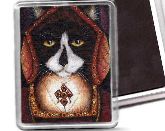 Tudor Cat Magnet, Catherine of Aragon Tuxedo Cat, Fridge Magnet