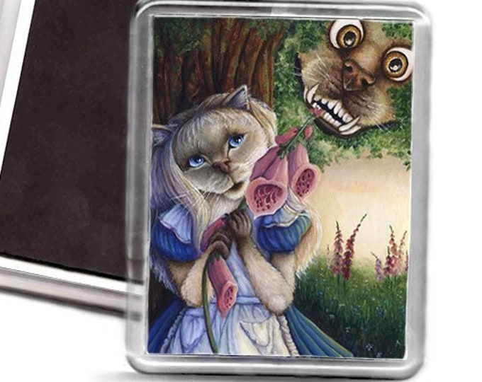 Alice and Cheshire Dog Wonderland Fridge Magnet