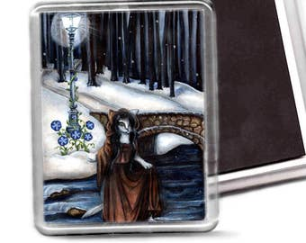 Cat Magnet, Winter Woods Snow, 78Tarot, Five of Pentacles, Cat Refrigerator Magnet