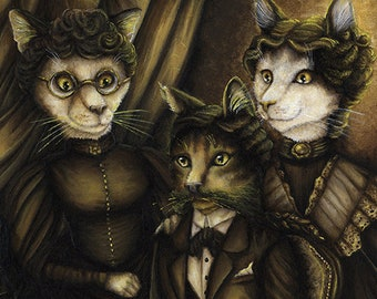 Victorian Cat Portrait, Arsenic and Old Lace, 8x10 Archival Reproduction Print