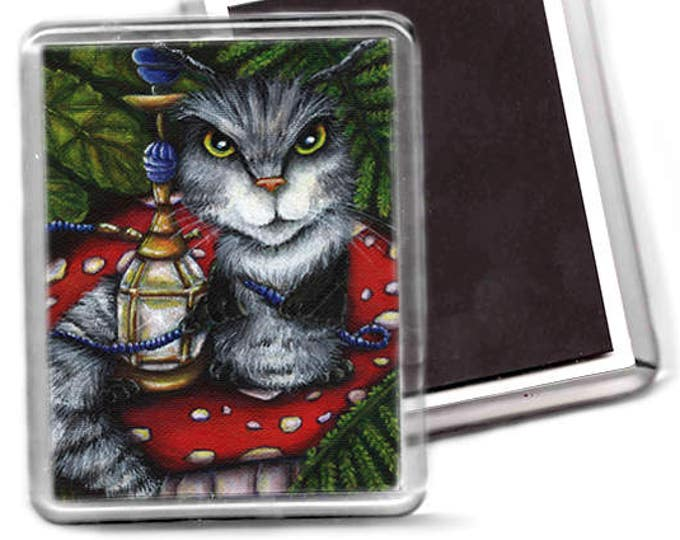 Caterpillar Magnet, Alice in Wonderland, Fantasy Cat Art Fridge Magnet