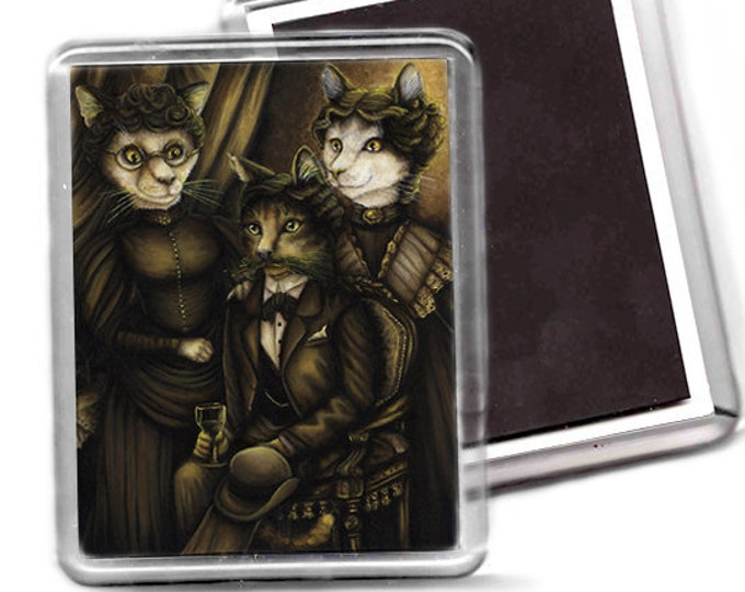 Arsenic and Old Lace Cat Art Fridge Magnet