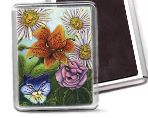 Cat Flowers Magnet, Alice in Wonderland Fantasy Cat Art Fridge Magnet