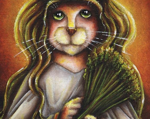 Saint Lucy Cat 5x7 Holiday Fine Art Print