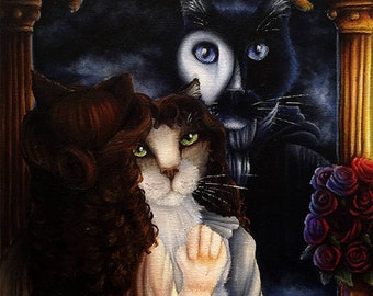 Cat Phantom in the Dressing Room Mirror, Christine Daae, 11x14 Fine Art Print