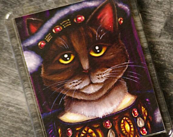 King Henry VIII Cat Magnet, Brown Tabby Tudor Cat Fridge Magnet
