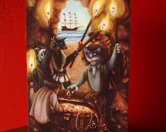 Pirate Cats Card, 5x7 Blank Greeting Card, Treasure Island Pirates Cave