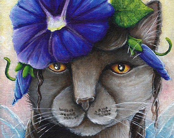 Morning Glory Cat Fairy, Russian Blue Cat Flower Fantasy Art 8x10 Print CLEARANCE