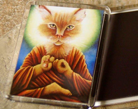 Buddha Cat Magnet, Meditating Orange Cat Art Fridge Magnet