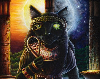 Egyptian Cat Goddess Bast Sun and Moon Fine Art Print 8x10