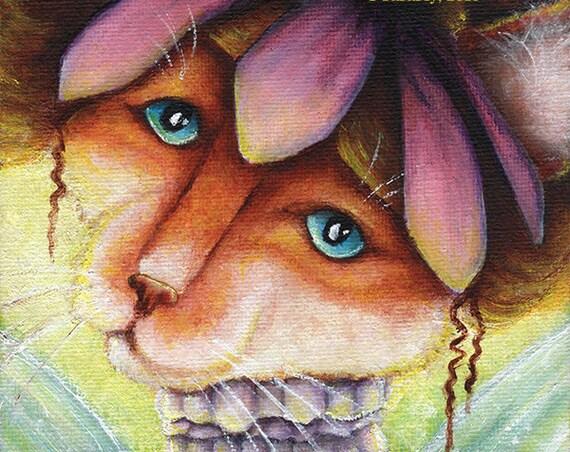 Coneflower Fairy Cat Fantasy Art 5x7 Fine Art Print CLEARANCE