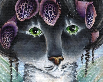 Foxglove Fairy Cat Fantasy Art 5x7 Fine Art Print CLEARANCE