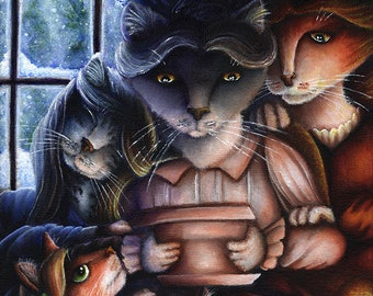 Little Women Cat Family 11x14 Fine Art Print