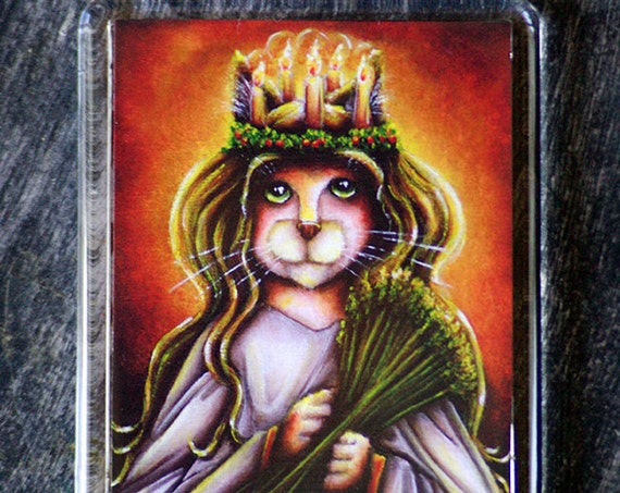 Saint Lucy Cat Christmas Holiday Fridge Magnet