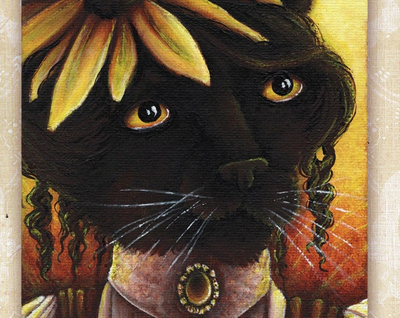 Black Eyed Susan Flower Cat 5x7 Fine Art Print