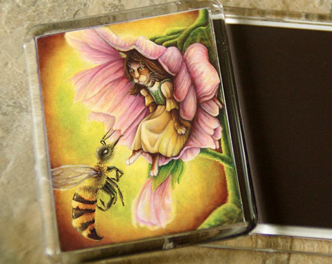 Thumbelina Cat Magnet Fairy Tale Flower Bee Art Refrigerator Magnet