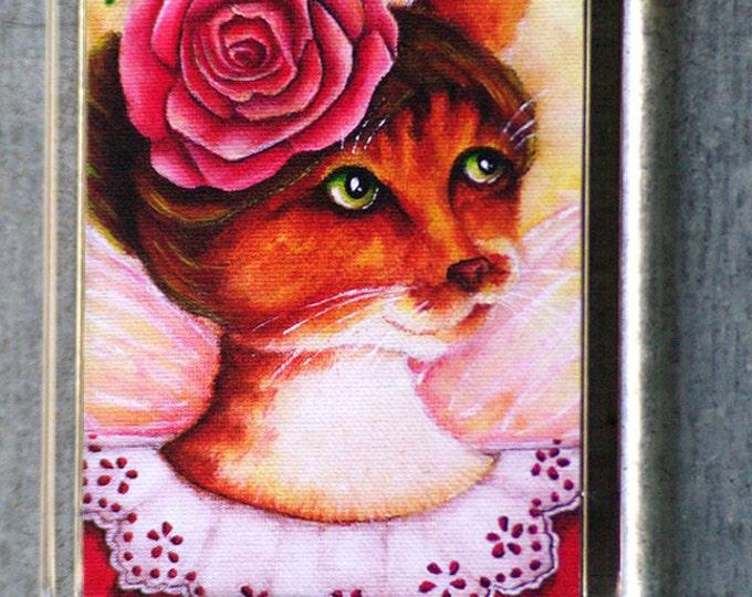 Victorian Fairy Rose Ginger Cat Magnet