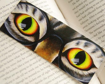Harry Cat Bookmark, Tabby Cat Wearing Glasses Bookmark