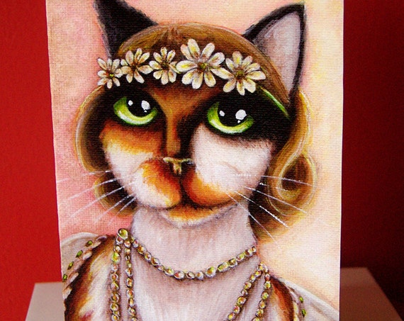 Great Gatsby Daisy Buchanan Calico Cat 5x7 Blank Greeting Card