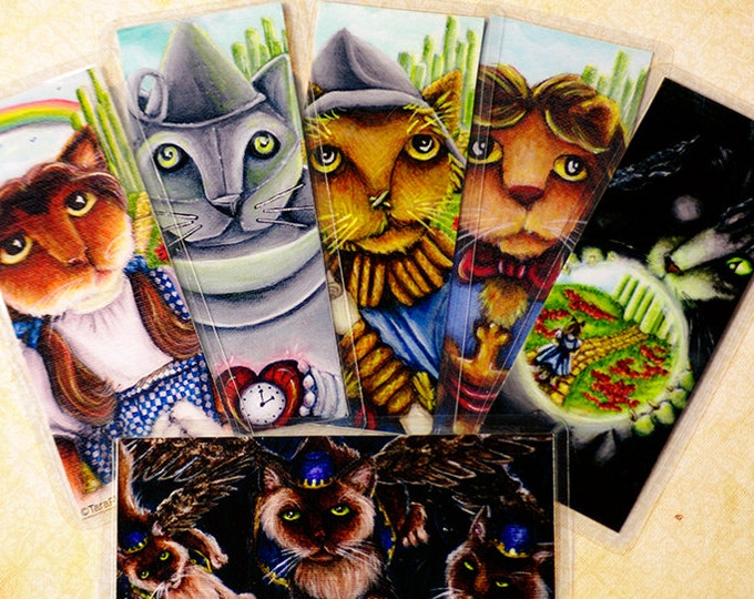 Six Wizard of Oz Cat Bookmarks