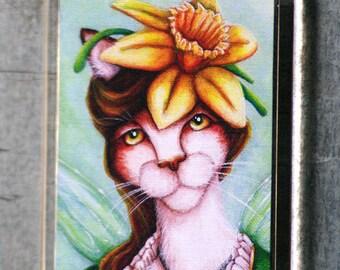 Daffodil Fairy Calico Cat Magnet