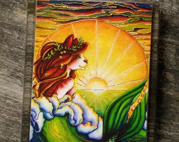 Mermaid Cat Magnet, Sunset Ocean Art Nouveau Fantasy Cat Art Fridge Magnet
