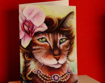 Bengal Cat Card, Orchid Flower Fantasy Cat Art, 5x7 Blank Greeting Card